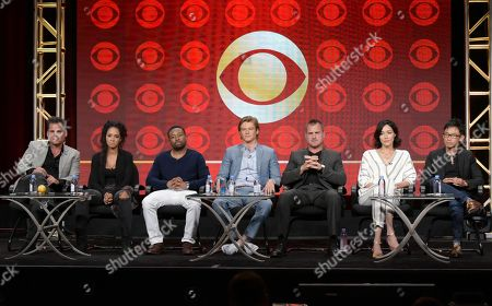 "Executive producer Peter Lenkov, from left, Tristin Mays, Justin Hires, Lucas Till, George Eads, Sandrine Holt and executive producer/director James Wan participate in Pop Network's ""MacGyver"" panel during the CBS Television Critics Association summer press tour, in Beverly Hills, Calif"