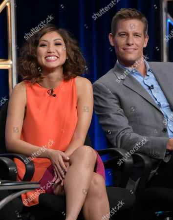 "Michelle Lee, left, and Ward Horton participate in the ""Pure Genius"" panel during the CBS Television Critics Association summer press tour, in Beverly Hills, Calif"