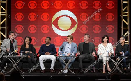 Executive producer Peter Lenkov, from left, Tristin Mays, Justin Hires, Lucas Till, George Eads, Sandrine Holt and executive producer/director James Wan participate in the 'MacGyver' panel during the CBS Television Critics Association summer press tour, in Beverly Hills, Calif