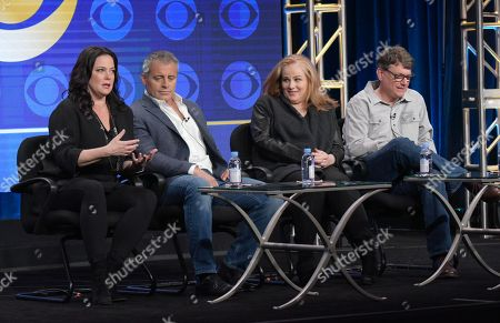"Stock Picture of Liza Snyder, from left, actor/executive producer Matt LeBlanc and executive producers Jackie Filgo and Jeff Filgo participate in the ""Man With A Plan"" panel during the CBS Television Critics Association summer press tour, in Beverly Hills, Calif"