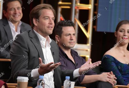"""Michael Weatherly, from left, Freddy Rodriguez and Annabelle Attanasio participate in """"Bull"""" panel during the CBS Television Critics Association summer press tour, in Beverly Hills, Calif. Looking on from back row left is executive producer Paul Attanasio"""