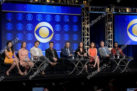 "Retime Shetty, from left, Odette Annable, Augustus Prew, Dermot Mulroney, executive producers Jason Katims and Michelle Lee, Ward Horton and Aaron Jennings participate in the ""Pure Genius"" panel during the CBS Television Critics Association summer press tour, in Beverly Hills, Calif"