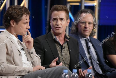 """Augustus Prew, from left, Dermot Mulroney and executive producer Jason Katims participate in the """"Pure Genius"""" panel during the CBS Television Critics Association summer press tour, in Beverly Hills, Calif"""