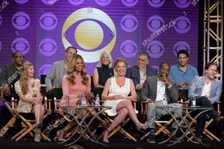 "Executive producers Carl Beverly, from back row left, Tony Phelan, Joan Rater, actors Elliott Gould, and from front row left, Dreama Walker, Laverne Cox, Katherine Heigl, Dule Hill and Steven Pasquale participate in the ""Doubt"" panel during the CBS Television Critics Association summer press tour, in Beverly Hills, Calif"