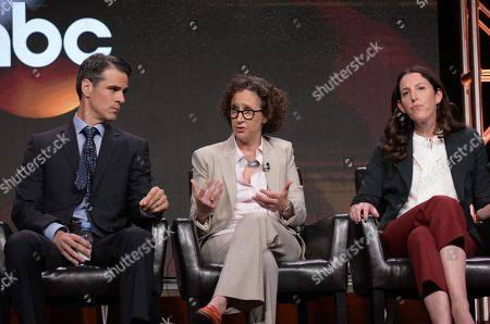 """Eddie Cahill, from left, writer Liz Friedman, and writer/creator/director Liz Friedlander participate in the """"Conviction"""" panel during the Disney/ABC Television Critics Association summer press tour, in Beverly Hills, Calif"""