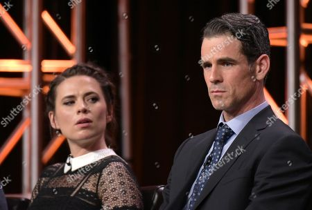 "Hayley Atwell, left, and Eddie Cahill participate in the ""Conviction"" panel during the Disney/ABC Television Critics Association summer press tour, in Beverly Hills, Calif"