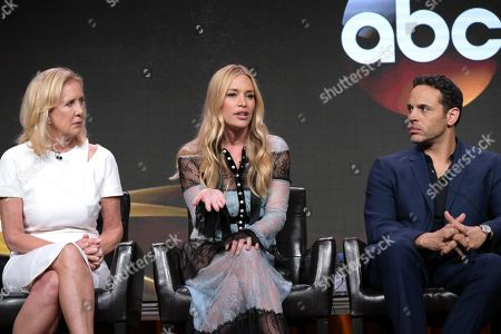 "Executive producer Wendy Walker, from left, Piper Perabo and Daniel Sunjata participate in the ""Notorious"" panel during the Disney/ABC Television Critics Association summer press tour, in Beverly Hills, Calif"