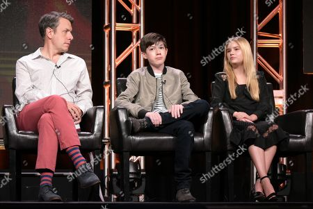 """John Ross Bowie, from left, Mason Cook and Kyla Kenedy participate in the """"Speechless"""" panel during the Disney/ABC Television Critics Association summer press tour, in Beverly Hills, Calif"""