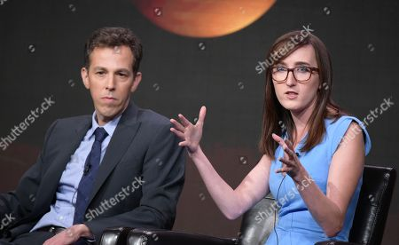 "Executive producers/co-creators Josh Berman, left, and Allie Hagan participate in the ""Notorious"" panel during the Disney/ABC Television Critics Association summer press tour, in Beverly Hills, Calif"