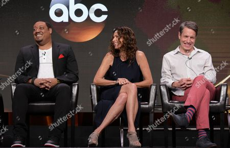 """Cedric Yarbrough, from left, Minnie Driver and John Ross Bowie participate in the """"Speechless"""" panel during the Disney/ABC Television Critics Association summer press tour, in Beverly Hills, Calif"""
