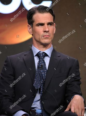 "Stock Photo of Eddie Cahill participates in the ""Conviction"" panel during the Disney/ABC Television Critics Association summer press tour, in Beverly Hills, Calif"