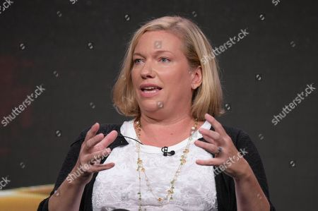 """Creator Sarah Dunn participates in the """"American Housewife"""" panel during the Disney/ABC Television Critics Association summer press tour, in Beverly Hills, Calif"""