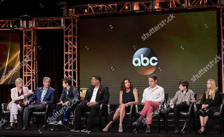 "Stock Photo of Director Christine Gernon, from left, writer/producer Scott Silveri, Micah Fowler, Cedric Yarbrough, Minnie Driver, John Ross Bowie, Mason Cook and Kyla Kenedy participate in the ""Speechless"" panel during the Disney/ABC Television Critics Association summer press tour, in Beverly Hills, Calif"