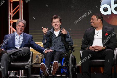 "Scott Silveri, from left, Micah Fowler and Cedric Yarbrough participate in the ""Speechless'"" panel during the Disney/ABC Television Critics Association summer press tour, in Beverly Hills, Calif"