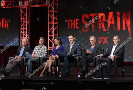 "Carlton Cuse, executive producer/director/writer, from left, Chuck Hogan, executive producer/co-creator/writer, and actors Natalie Brown, Kevin Durand, Richard Sammel and Miguel Gomez participate in ""The Strain"" panel during the FX Television Critics Association summer press tour, in Beverly Hills, Calif"