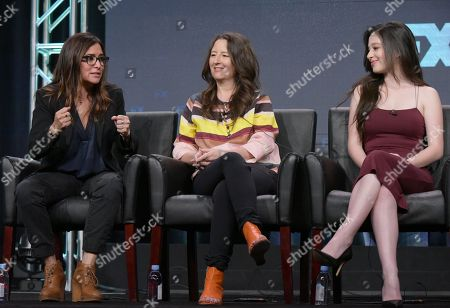 "Pamela Adlon, co-creator, executive producer/writer/director, from left, executive producer M. Blair Breard and actor Mikey Madison participate in the ""Better Things"" panel during the FX Television Critics Association summer press tour, in Beverly Hills, Calif"