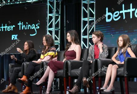 "Pamela Adlon, co-creator, executive producer/writer/director, from left, executive producer M. Blair Breard and actors Mikey Madison, Hannah Alligood and Olivia Edward participate in the ""Better Things"" panel during the FX Television Critics Association summer press tour, in Beverly Hills, Calif"