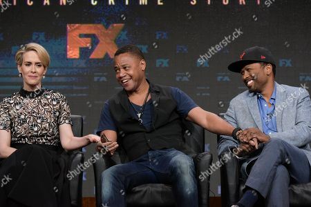 "Sarah Paulson, left, and Cuba Gooding Jr. and Joe Robert Cole participate in the ""The People v. O. J. Simpson: American Crime Story"" panel during the FX Television Critics Association summer press tour, in Beverly Hills, Calif"