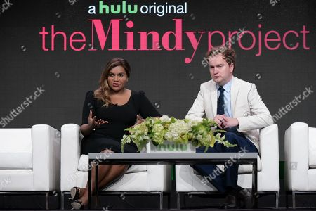 """Mindy Kaling, left, and Matt Warburton participate in the """"The Mindy Project"""" panel during the Hulu Television Critics Association summer press tour, in Beverly Hills, Calif"""