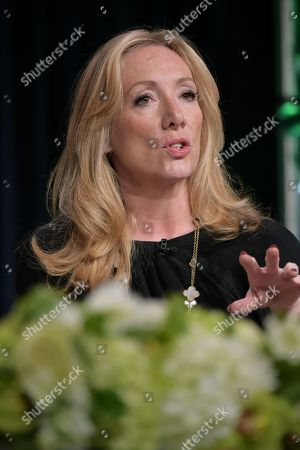 """Jessica Pope participates in the """"International Intrigue"""" panel during the Hulu Television Critics Association summer press tour, in Beverly Hills, Calif"""