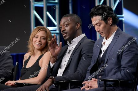 """Stock Photo of Lizzie Brochere, from left, David Ajala and Will Yun Lee participate in USA network's """"Falling Water"""" panel during the NBCUniversal Television Critics Association summer press tour, in Beverly Hills, Calif"""