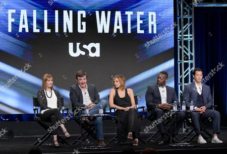 "Producers Gale Anne Hurd, from left, Blake Masters, Lizzie Brochere, David Ajala and Will Yun Lee participate in USA network's ""Falling Water"" panel during the NBCUniversal Television Critics Association summer press tour, in Beverly Hills, Calif"