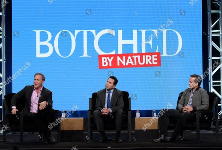 "Terry Dubrow, from left, Paul Nassif and executive producer Matt Westmore participate in E! network's ""Botched by Nature"" panel during the NBCUniversal Television Critics Association summer press tour, in Beverly Hills, Calif"