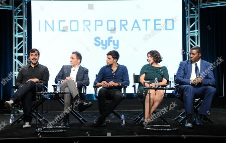 "Alex Pastor, co-creator and executive producer, from left, executive producer Ted Humphrey, Sean Teale, Julia Ormond and Dennis Haysbert participate in the Syfy network's ""Incorporated"" panel during the NBCUniversal Television Critics Association summer press tour, in Beverly Hills, Calif"