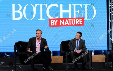 "Terry Dubrow, left, and Paul Nassif participate in E! network's ""Botched by Nature"" panel during the NBCUniversal Television Critics Association summer press tour, in Beverly Hills, Calif"