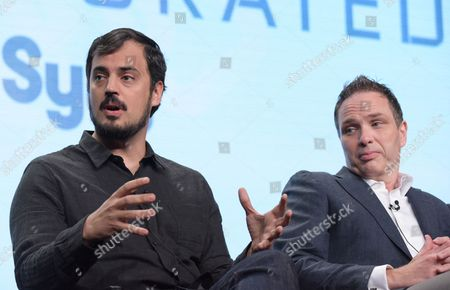 Alex Pastor, co-creator and executive producer, from left, and executive producer Ted Humphrey participate in the Syfy network's 'Incorporated' panel during the NBCUniversal Television Critics Association summer press tour, in Beverly Hills, Calif