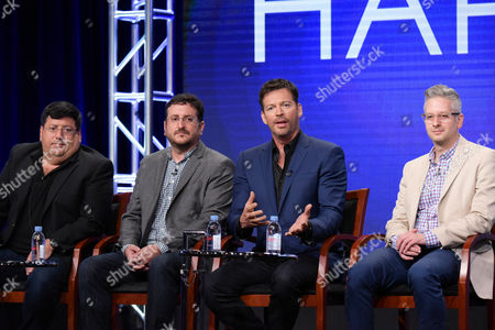 """Stock Image of Justin Stangel, from left, Eric Stangel, Harry Connick Jr. and Jason Kurtz participate in the """"Harry"""" panel during the NBC Television Critics Association summer press tour, in Beverly Hills, Calif"""