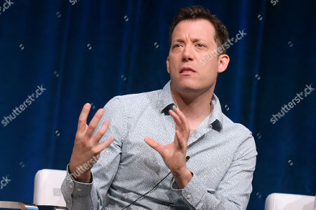 John Tartaglia participates in the 'Splash and Bubbles' panel during the PBS Television Critics Association summer press tour at the Beverly Hilton, in Beverly Hills, Calif