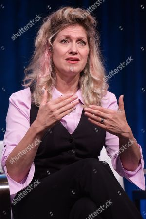Leslie Carrara-Rudolph participate in the 'Splash and Bubbles' panel during the PBS Television Critics Association summer press tour at the Beverly Hilton, in Beverly Hills, Calif