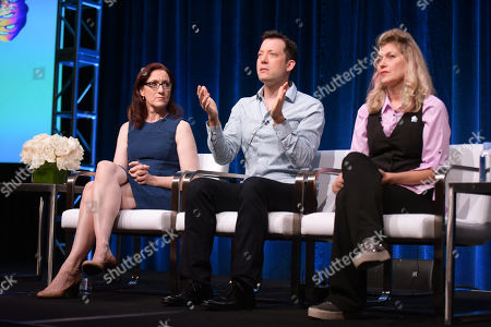 Stock Image of Lisa Henson, from left, John Tartaglia and Leslie Carrara-Rudolph participate in the 'Splash and Bubbles' panel during the PBS Television Critics Association summer press tour at the Beverly Hilton, in Beverly Hills, Calif