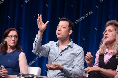 Stock Photo of Lisa Henson, from left, John Tartaglia and Leslie Carrara-Rudolph participate in the 'Splash and Bubbles' panel during the PBS Television Critics Association summer press tour at the Beverly Hilton, in Beverly Hills, Calif