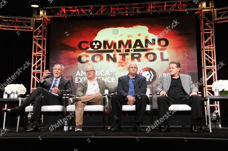 """Mark Samels, from left, Robert Kenner, David Powell and Greg Devlin participate in the """"Command and Control"""" panel during the PBS Television Critics Association summer press tour, in Beverly Hills, Calif"""