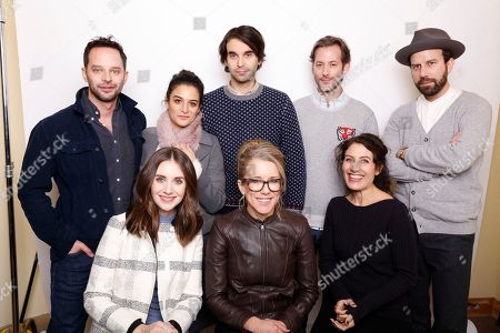 """Director Alex Ross Perry, top center, poses with actors, from left, Nick Kroll, Jenny Slate, Jeff Baena, Brett Gelman, Alison Brie, Lauren Weedman, and Lisa Edelstein for a portrait to promote the film, """"Joshy"""", at the Toyota Mirai Music Lodge during the Sundance Film Festival on in Park City, Utah"""