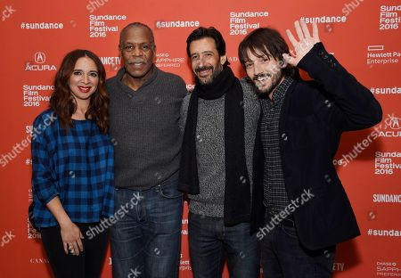 "Diego Luna, far right, director and co-screenwriter of ""Mr. Pig,"" poses with cast members, from left, Maya Rudolph, Danny Glover and Jose Maria Yazpik at the premiere of the film at the 2016 Sundance Film Festival, in Park City, Utah"