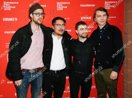 """From left to right, directors and writers Dan Kwan and Daniel Scheinert, and actors Daniel Radcliffe, and Paul Dano, pose at the premiere of """"Swiss Army Man"""" during the 2016 Sundance Film Festival, in Park City, Utah"""