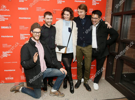 """From left to right, director and writer Daniel Scheinert, actors Daniel Radcliffe, Mary Elizabeth Winstead, Paul Dano, and director and writer Dan Kwan pose at the premiere of """"Swiss Army Man"""" during the 2016 Sundance Film Festival, in Park City, Utah"""