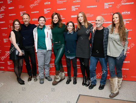 "From left to right, actress Tammy Blanchard, actor John Benjamin Hickey, producer Chris Columbus, actress Allison Janney, actress Ellen Page, director and writer Sian Heder, producer Russell Levine and producer Heather Rae pose at the premiere of ""Tallulah"" during the 2016 Sundance Film Festival, in Park City, Utah"