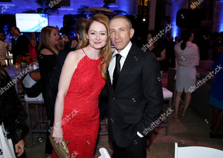 Miranda Otto, left, and Mark Ivanir are seen at 2016 Television Academy Honors at The Montage Hotel, in Beverly Hills, Calif