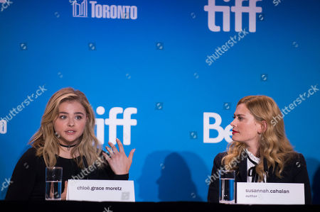 """Chloë Grace Moretz, left, and Susannah Cahalan attend the press conference for """"Brain on Fire"""" on day 9 of the Toronto International Film Festival at the TIFF Bell Lightbox, in Toronto"""
