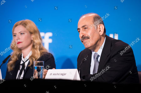 """Stock Picture of Susannah Cahalan, left, and Dr. Souhel Najjar attend the press conference for """"Brain on Fire"""" on day 9 of the Toronto International Film Festival at the TIFF Bell Lightbox, in Toronto"""