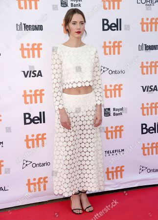 """Stock Picture of Caren Pistorius arrives at the """"Denial"""" premiere on day 4 of the Toronto International Film Festival at the Princess of Wales Theatre, in Toronto"""