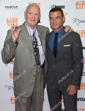 """Chuck Wepner, left, and Liev Schreiber arrive at """"The Bleeder"""" premiere on day 3 of the Toronto International Film Festival at the Princess of Wales Theatre, in Toronto"""