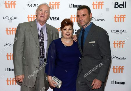 """Chuck Wepner, from left, Linda Wepner and Liev Schreiber arrive at """"The Bleeder"""" premiere on day 3 of the Toronto International Film Festival at the Princess of Wales Theatre, in Toronto"""