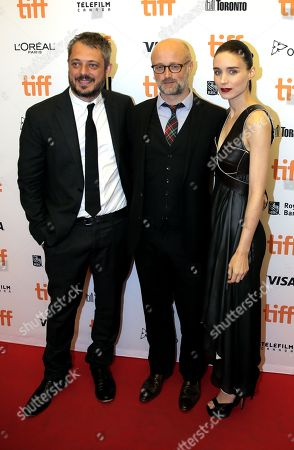 Stock Photo of Director Benedict Andrews, from left, writer David Harrower and Rooney Mara attend the Una premiere on day 7 of the Toronto International Film Festival at the Princess of Wales Theatre, in Toronto
