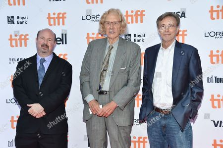 Michael Mann, professor of atmospheric science at Penn State, from left, marine ecologist Jeremy Jackson and radio host Thom Hartman arrive at the Before the Flood premiere on day 2 of the Toronto International Film Festival at the Princess of Wales Theatre, in Toronto
