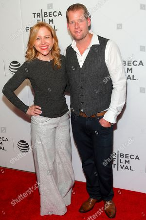 """Laura Rister, left, and Robert Ogden Barnum, right, attend the """"Elvis & Nixon"""" world premiere screening during the 2016 Tribeca Film Festival at John Zuccotti Theater at BMCC Tribeca Performing Arts Center, in New York"""